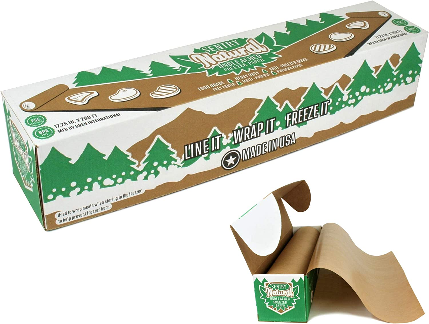 """Natural Freezer Paper Roll With Dispenser Box   17.25"""" x 200' (288 sq. ft.)   Best Wrapping Paper for Food and Meats   Protects Against Freezer Burn   Poly Coated & Moisture Resistant   BPA Free"""