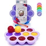 USA Standard- BPA Free | Homemade Baby Food & Frozen Breastmilk Freezer Storage Silicone Tray | Cover Lid | 1.5oz Portion Containers, Cups | Bonus 2 White-Hot Spoons | Makes a Great Gift! | Purple