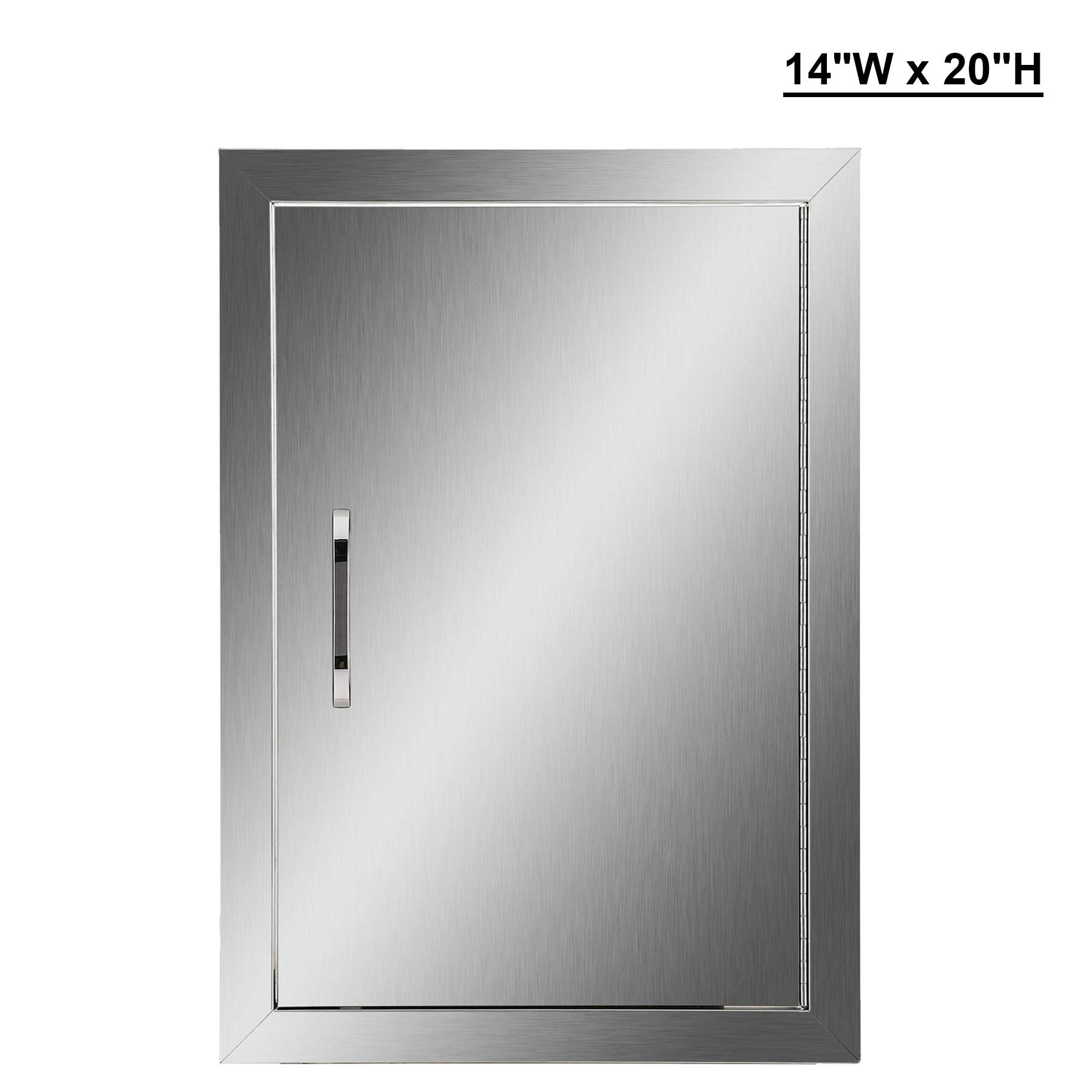 CO-Z Outdoor Kitchen Doors, 304 Stainless Steel Single BBQ Access Door for Outdoor Summer Kitchen Island, Grilling Station, Outside Cabinet, Barbeque Grill, Built-in SS BBQ Island Door (14'' W x 20'' H)