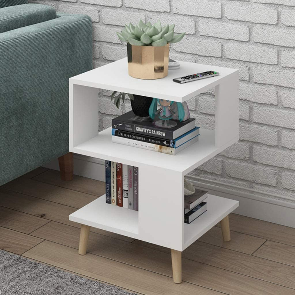 Sofa Side Table S Shaped Coffee Table Wood End Table Accent Table Vintage Book Shelf Laptop Pc Desk For Couch Room Living Room Color White Amazon Co Uk Kitchen Home