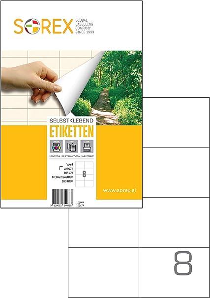 8 etichette bianche per foglio 100 fogli A4 800 Etichette Adesive senza margini 105 x 74 mm