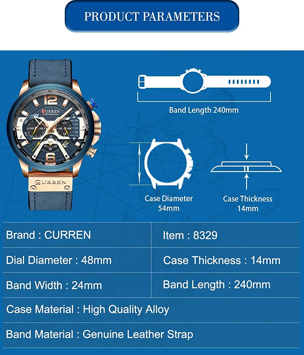 CURREN Montre Homme Militaire Montre pour Homme de Sport Chronographe à Quartz avec Bracelet en Cuir Bleu