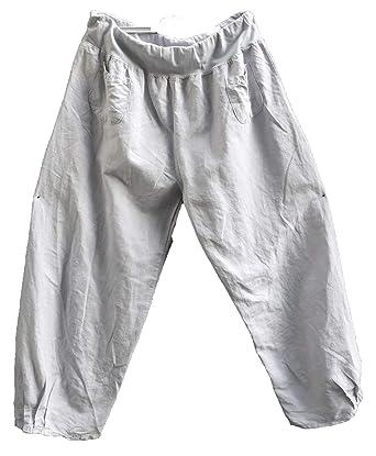 Luigi Moda Damen-Hose-Leinenhose-Ballonhose-Lagenlook-breites Gummibund  leicht- 3d7279c34d
