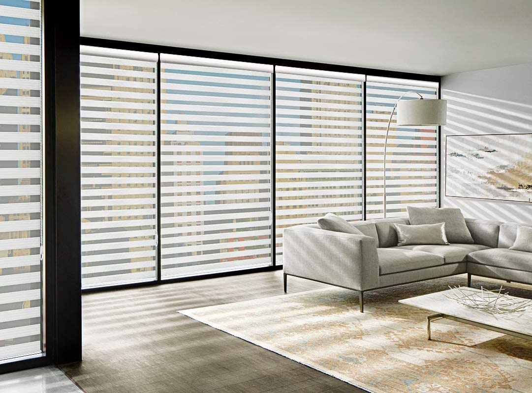 Light Filtering Zebra Roller Shades for Home Light Control and Privacy Snow White 23 W x 72 H MiLin Window Blinds Zebra Dual Sheer Shades Custom Cut to Size