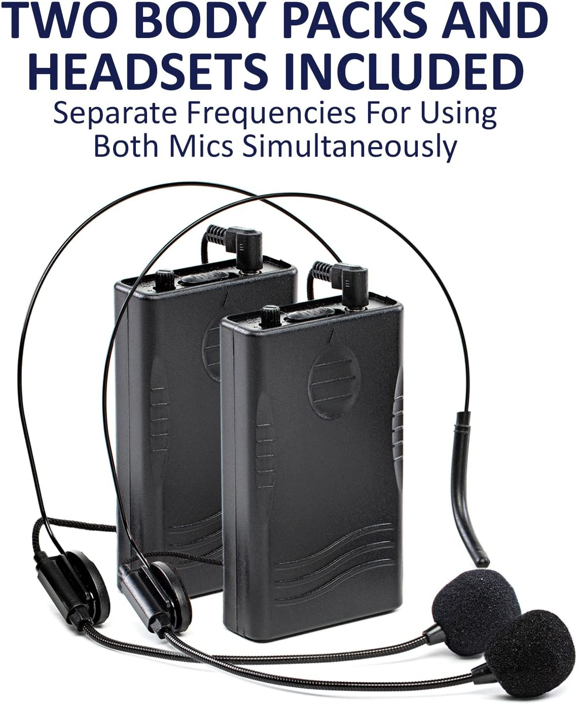 LyxPro Dual Channel Wireless Bodypack Transmitters with Headsets for SPA-12BAT PA Speaker System
