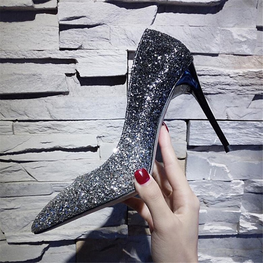 Xue Qiqi Court Schuhe Stöckelschuhe mit Hohen Hohen Hohen Absätzen mit Einem Einzelnen Schuh Weibliche Flache Schuhe mit Hohen Absätzen Silber Spitz 40 250 Silber Schwarz Gradient 6CM ff2ecf