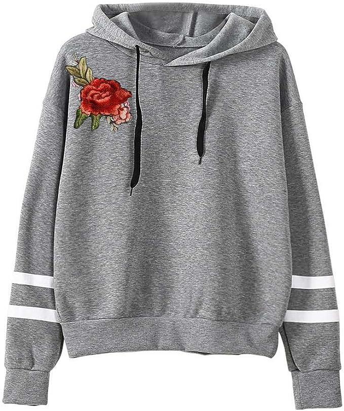 Ulanda-EU Damen Kapuzenpullover Winter Warm Langarm Hoodie Pullover Outerwear Teenager M/ädchen Sweatshirt Fashion Drucken Muster Sweatshirt Casual Sweatjacke Mit Tasche