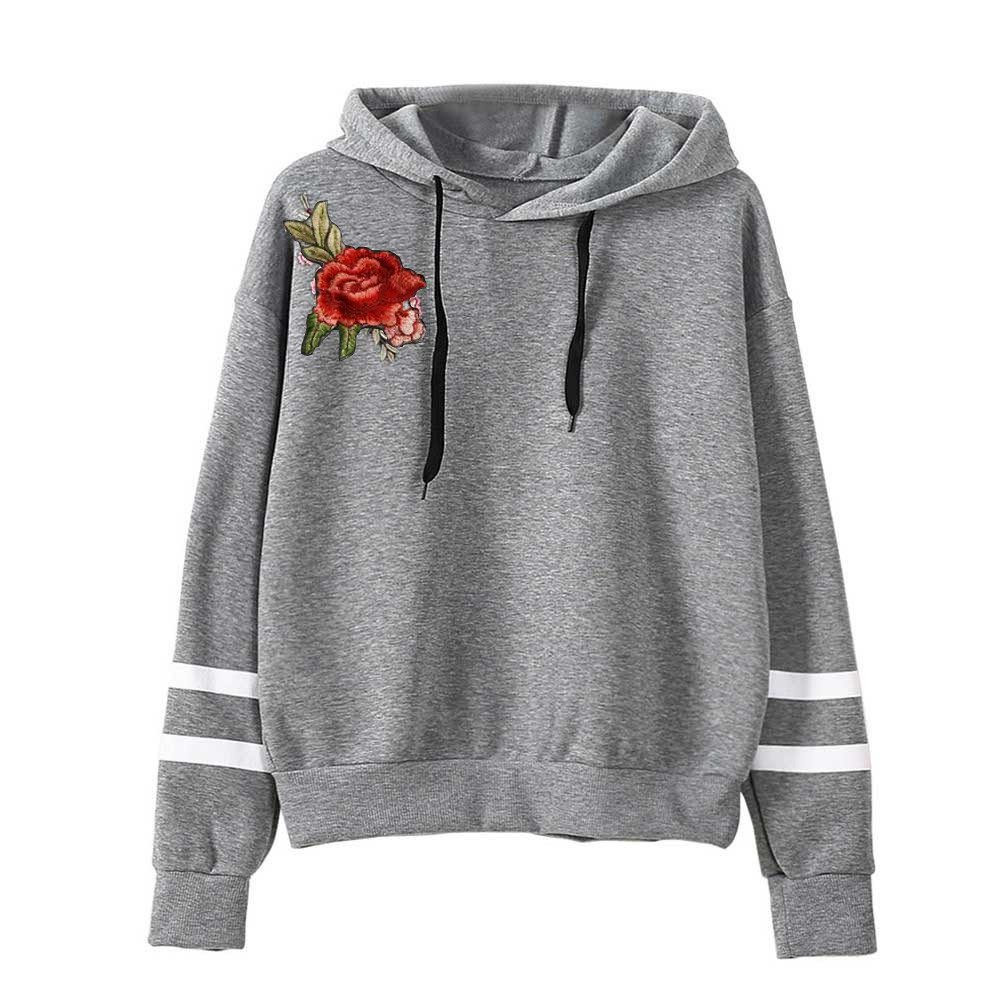 Littleice Womens Embroidery Applique Long Sleeve Hoodie Sweatshirt Jumper Hooded Pullover Tops Blouse (Gray, L2)