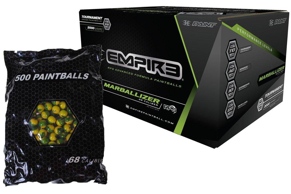 Empire MARBALLIZER Case of 2000 Paintballs - GREEN SWIRL / YELLOW FILL