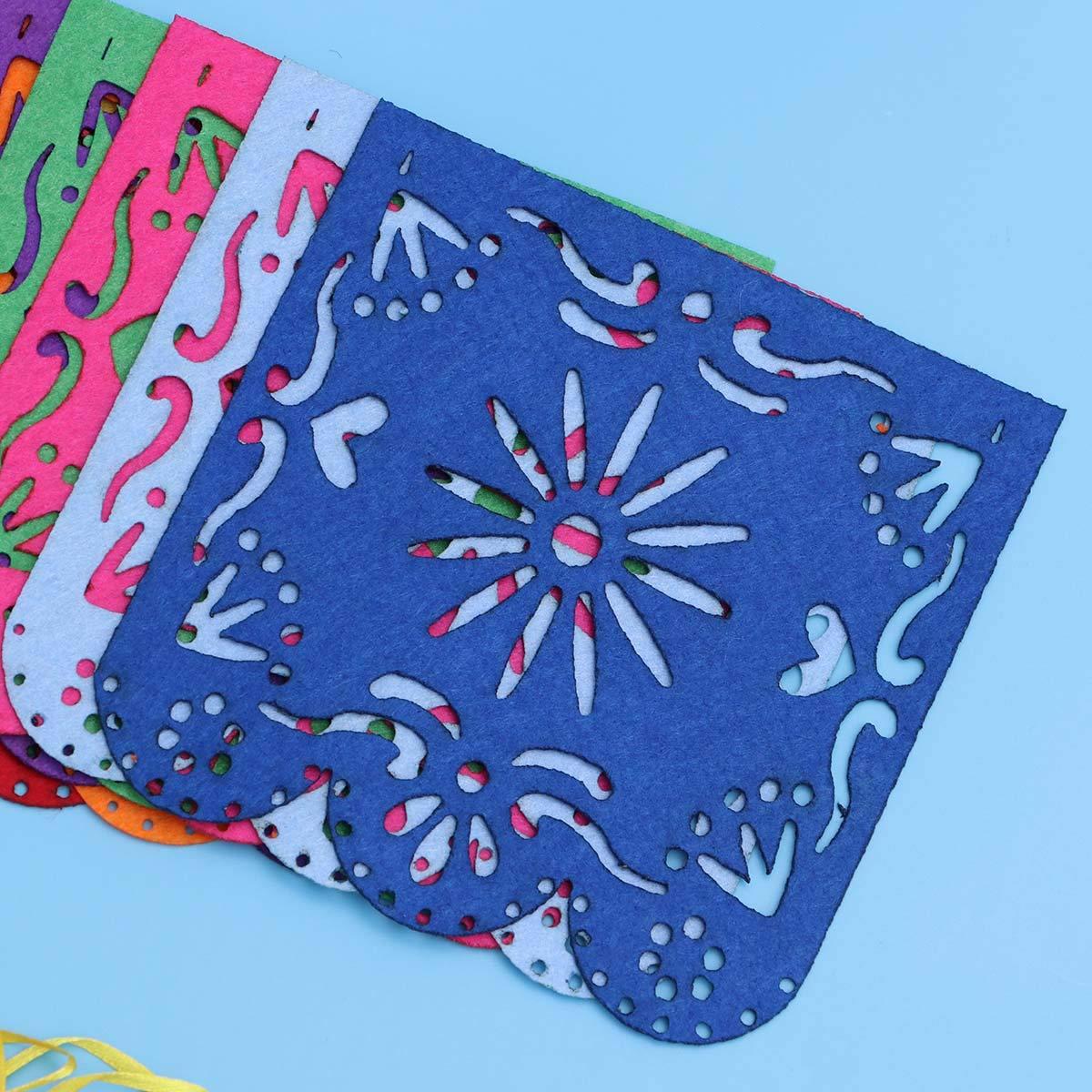 Vosarea Papel Picado Banner Square Fieltro Vibrante Paneles de Flores Papel de Seda para cumplea/ños Fiesta de Bodas