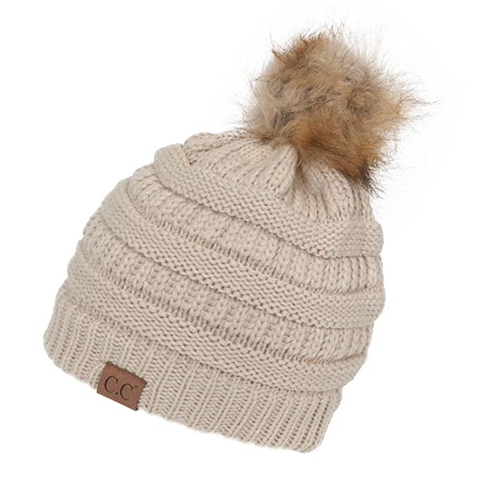 Gravity Threads Cable Knit Faux Fur Pom Pom Beanie Hat Beige at ... 77d7f0c344d