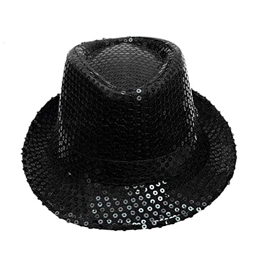 Funic Clearance Sale Jazz Hats Sequined Fedora Hats Dancer Stage Show  Performances Hat Unisex (Black d96f34a2903