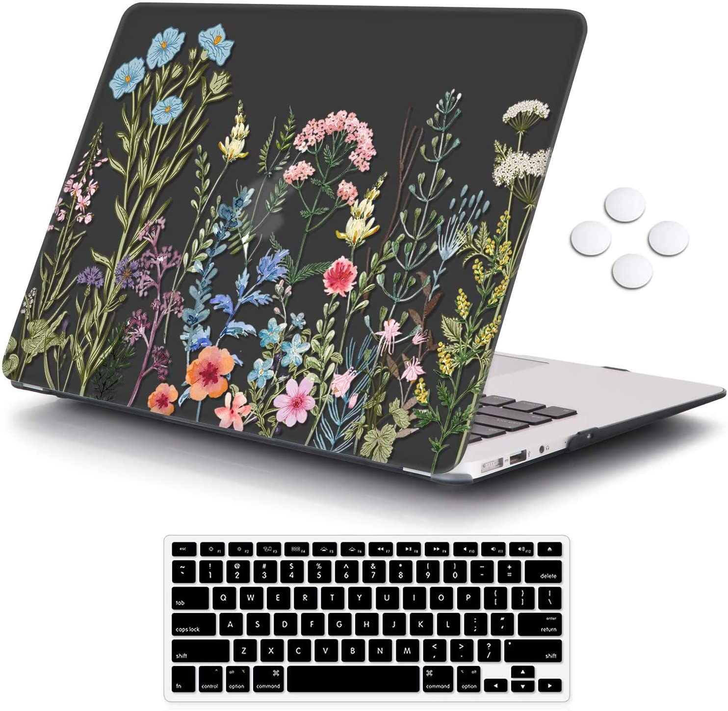 iCasso MacBook Air 11 inch Case Model A1370/A1465, Ultra Slim Pattern Plastic Hard Shell Case Protective Cover Compatible MacBook Air 11'' with Keyboard Cover - Weeds