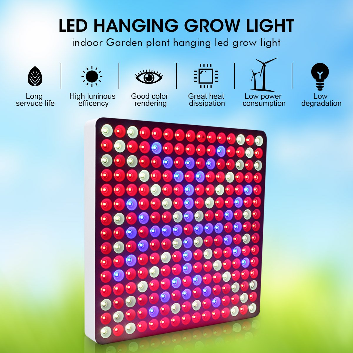 LED Hanging Grow Lights, Pathonor Kepler-50B 50W LED Full Spectrum LED Hanging Plant Grow Light for Indoor Plant Garden Greenhouse Hydroponic Growing with Hang Rope