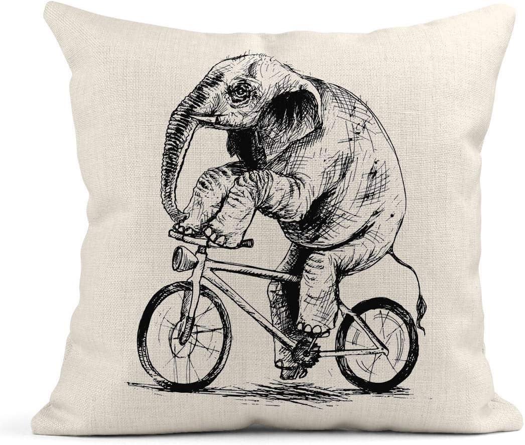 Cojín Elefante Vintage Bicicleta de Montar Bosquejo Circo Dibujado ...