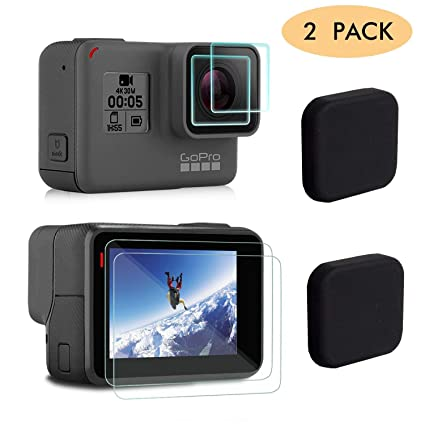 decdfb63ee6b FINENIC Compatible for GoPro Hero 7(Black)/6/5 Lens Protector case  Accessories, Screen Protector Film+Tempered Glass Lens Protection Film+Lens  Cover ...