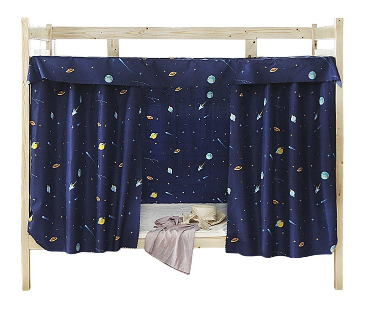 Tenda in tessuto per letto a castello per dormitorio, Tenda oscurante per letto a baldacchino a prova di polvere e zanzare, Dark Blue, 1.2M x 2M ( 3 Piece included ) BXT