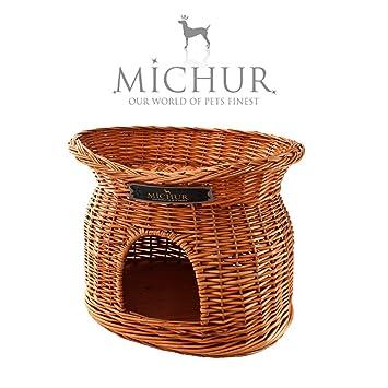 MICHUR TEDDY, Cama del perro, cama del gato, cesta del gato, cesta del perro, sauce, cueva, mimbre, natural: Amazon.es: Hogar