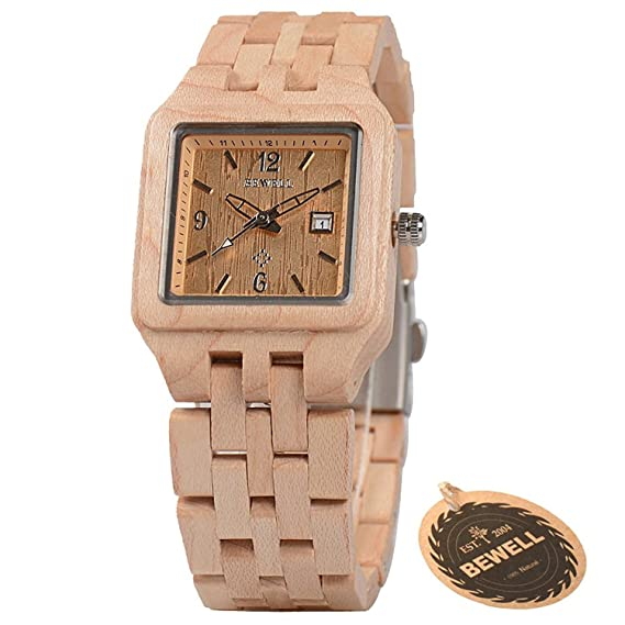 bbewell hecha a mano de madera relojes para las mujeres, moda ventana de madera reloj