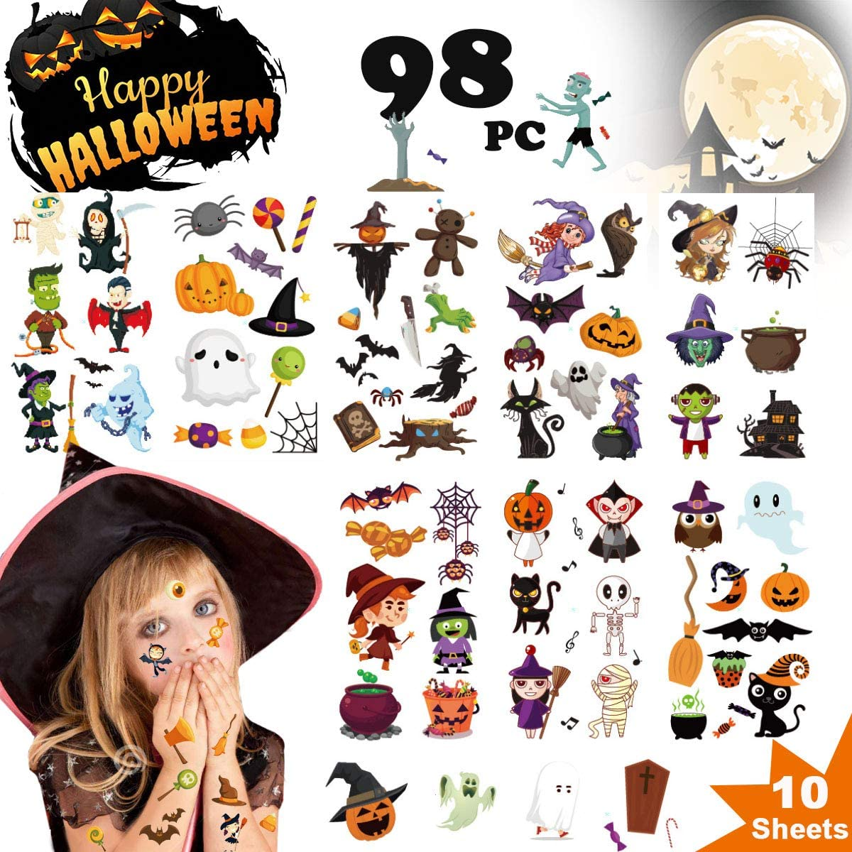 Halloween Tattoos for Kids, Halloween Temporary Tattoos with Ghost Stickers and Witchs Stickers Waterproof, Party and Gift Decorations