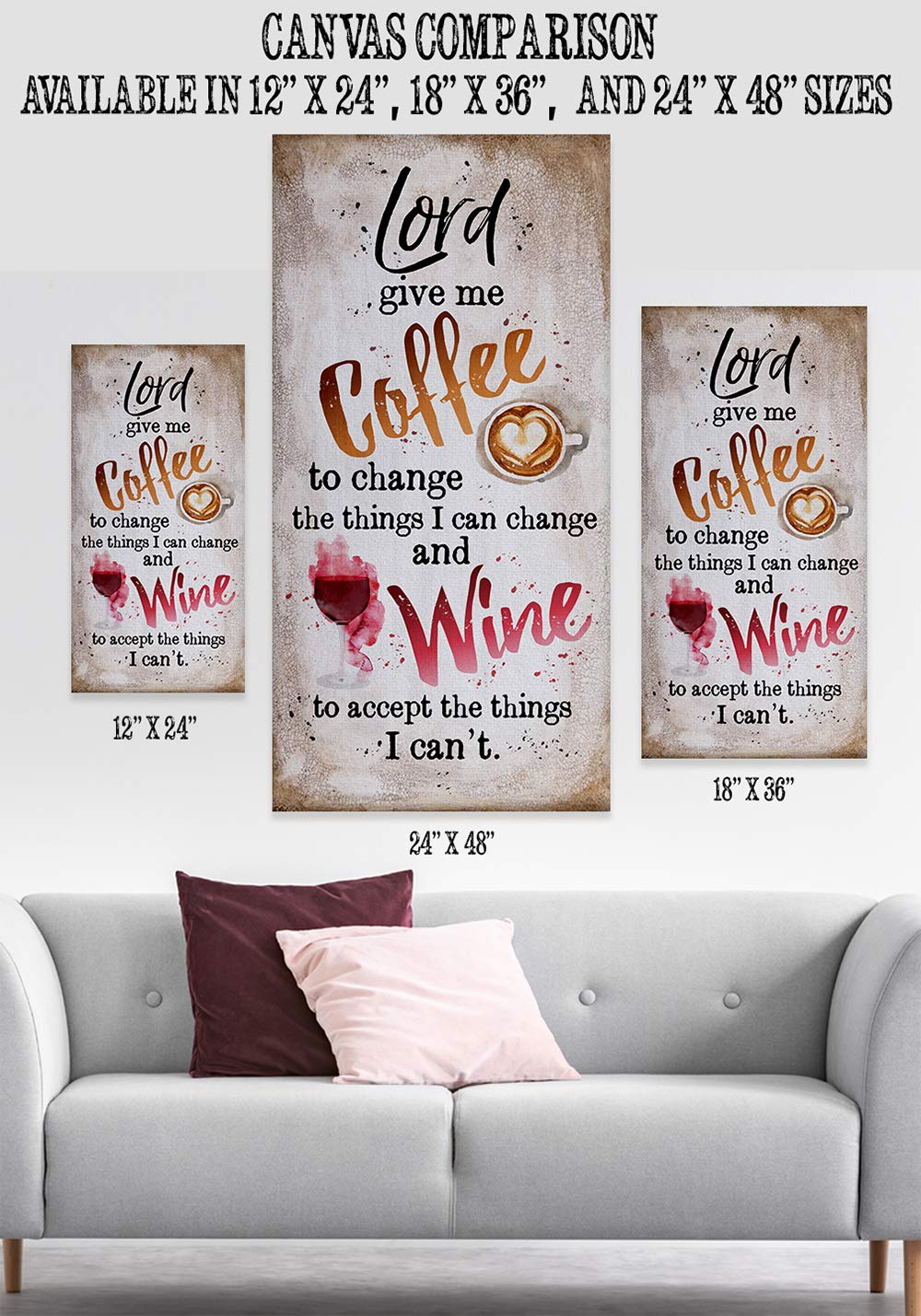 Kitchen and Dining Room Decor Give Me Coffee Makes a Great Housewarming Gift to Coffee and Wine Lovers Under $50 Large Canvas Wall Art Lord Stretched on a Heavy Wood Frame Ready to Hang