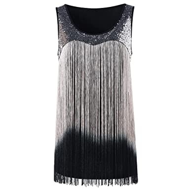 8013596772f CharMma Women s Sequined Round Neck Ombre Draping Tassel Flapper Tank Top  (Black