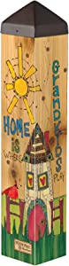 Studio M Where Grandkids Play Art Pole Grandparents Home Outdoor Decorative Garden Post, Made in USA, 20 Inches Tall
