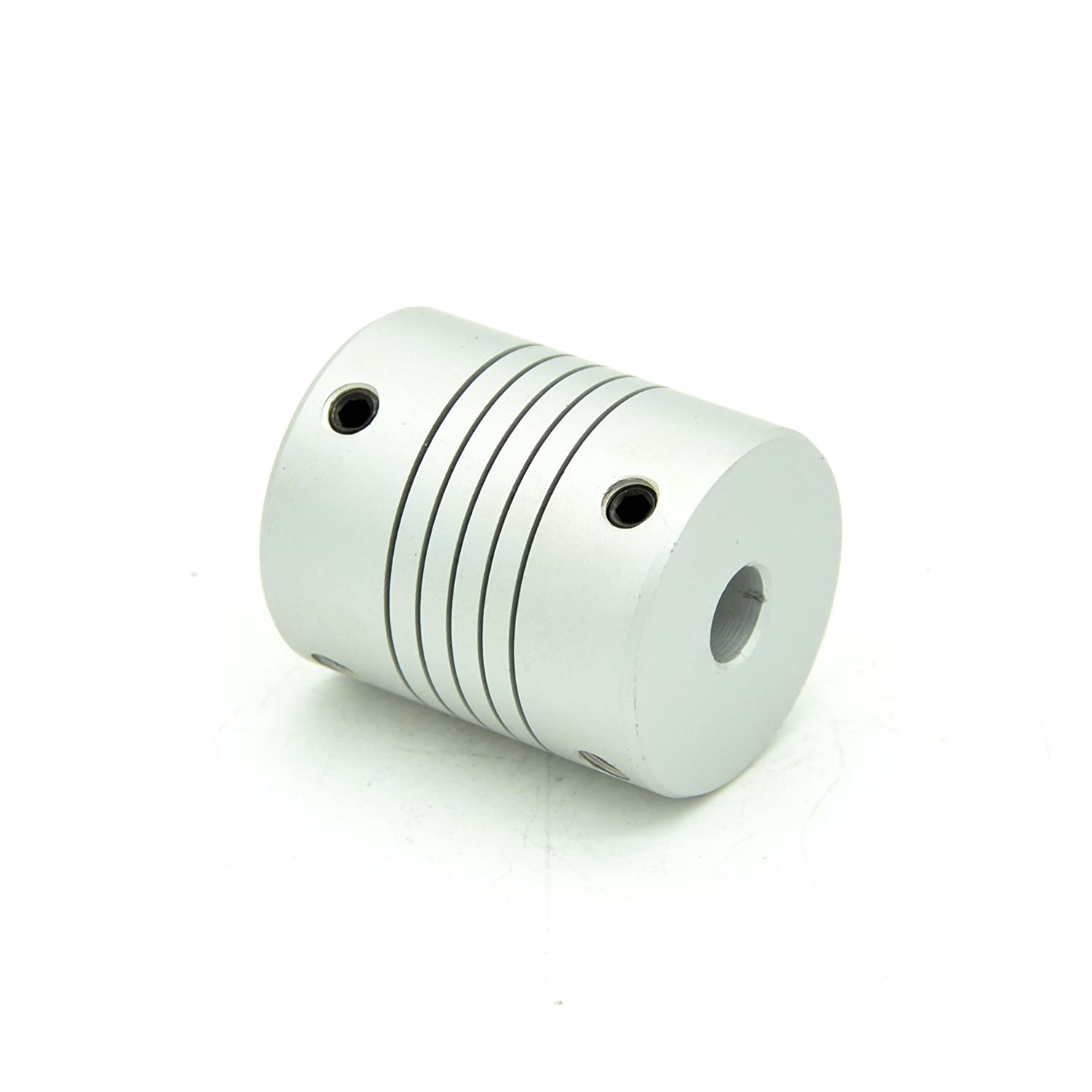 RobotDigg FCD12-635to12 Flexible Coupling 6.35mm to 12mm Aluminum Alloy Beam Coupling Silver Color Flexible Clamping Coupler Pack of 4pcs