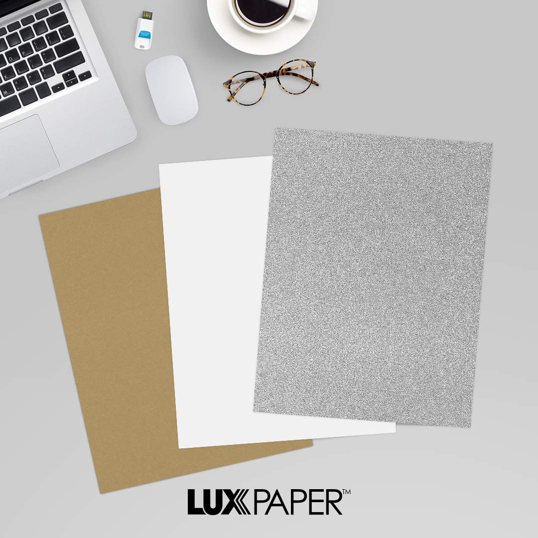 LUXPaper 8.5'' x 11'' Cardstock for Crafts and Cards in 106 lb. Silver Sparkle, Scrapbook Supplies, 50 Pack (Silver)