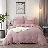 HYPREST Blush Ruffled Duvet Cover Twin - Soft Lightweight Comfortable Blush Pink Duvet Cover Bedding Set (Not Including Comfo