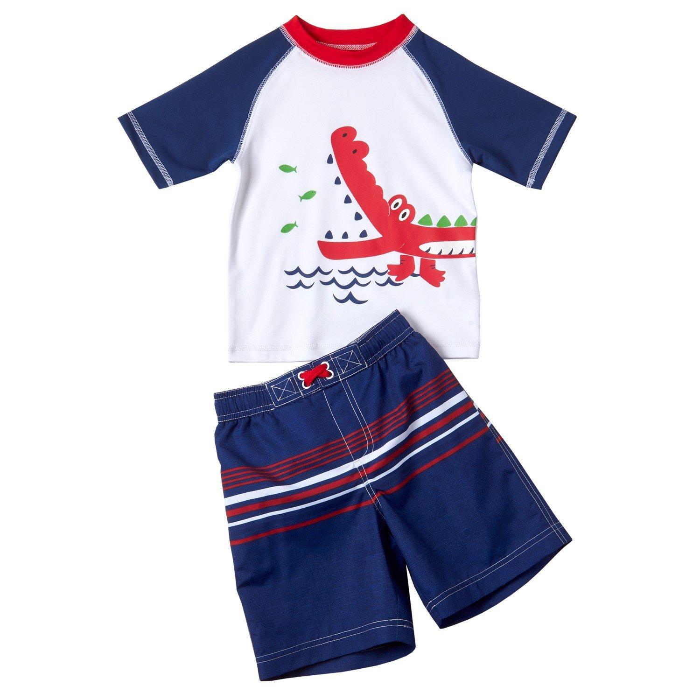 Wippette Boys 2-Piece Rashguard Swimwear, Sun Protection Swimsuit Set, Rashguard Boys Swimwear, Available in