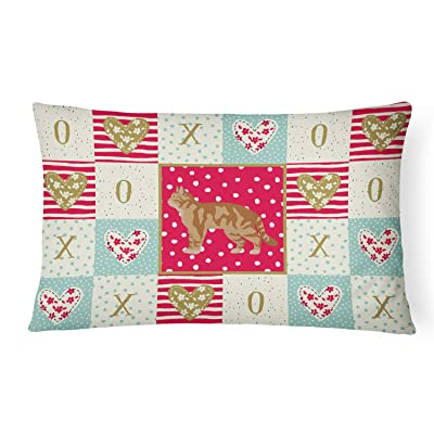 Caroline's Treasures CK5551PW1216 American Wirehair #2 Cat Love Canvas Fabric Decorative Pillow, 12H x16W, Multicolor : Garden & Outdoor