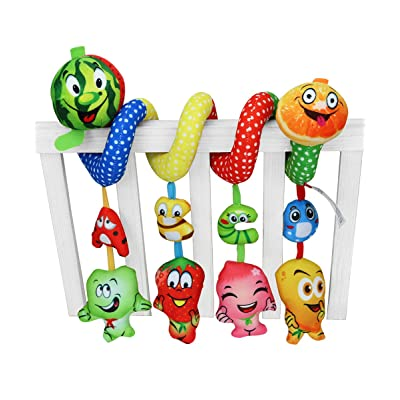 Baby Activity Sprial Toy, Ashow Newborn Infant Crib Pram Toys Cute Fruit Smile Design Stroller Rall Hanging Letters Plush Soft Toy