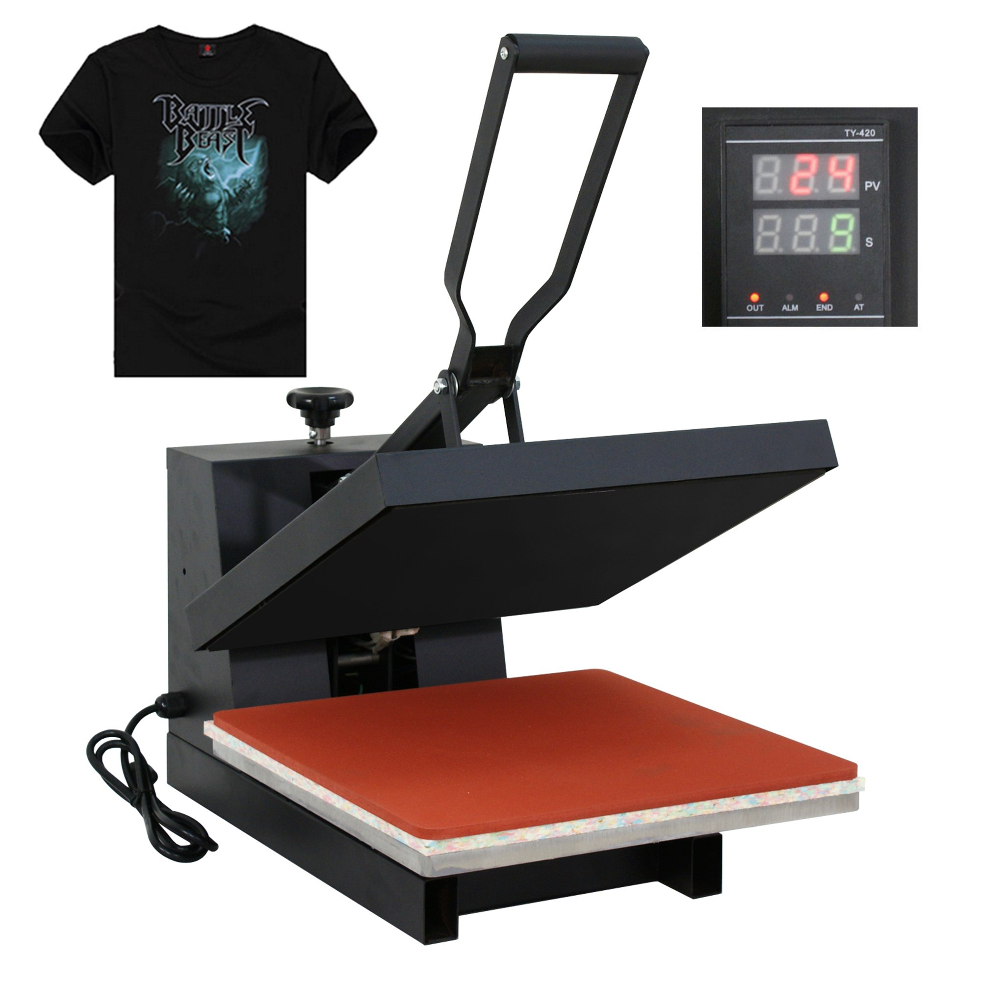 F2C 15'' x 15'' Black Digital Clamshell Heat Press Transfer T-shirt Sublimation Machine (15''x 15'' black) by F2C