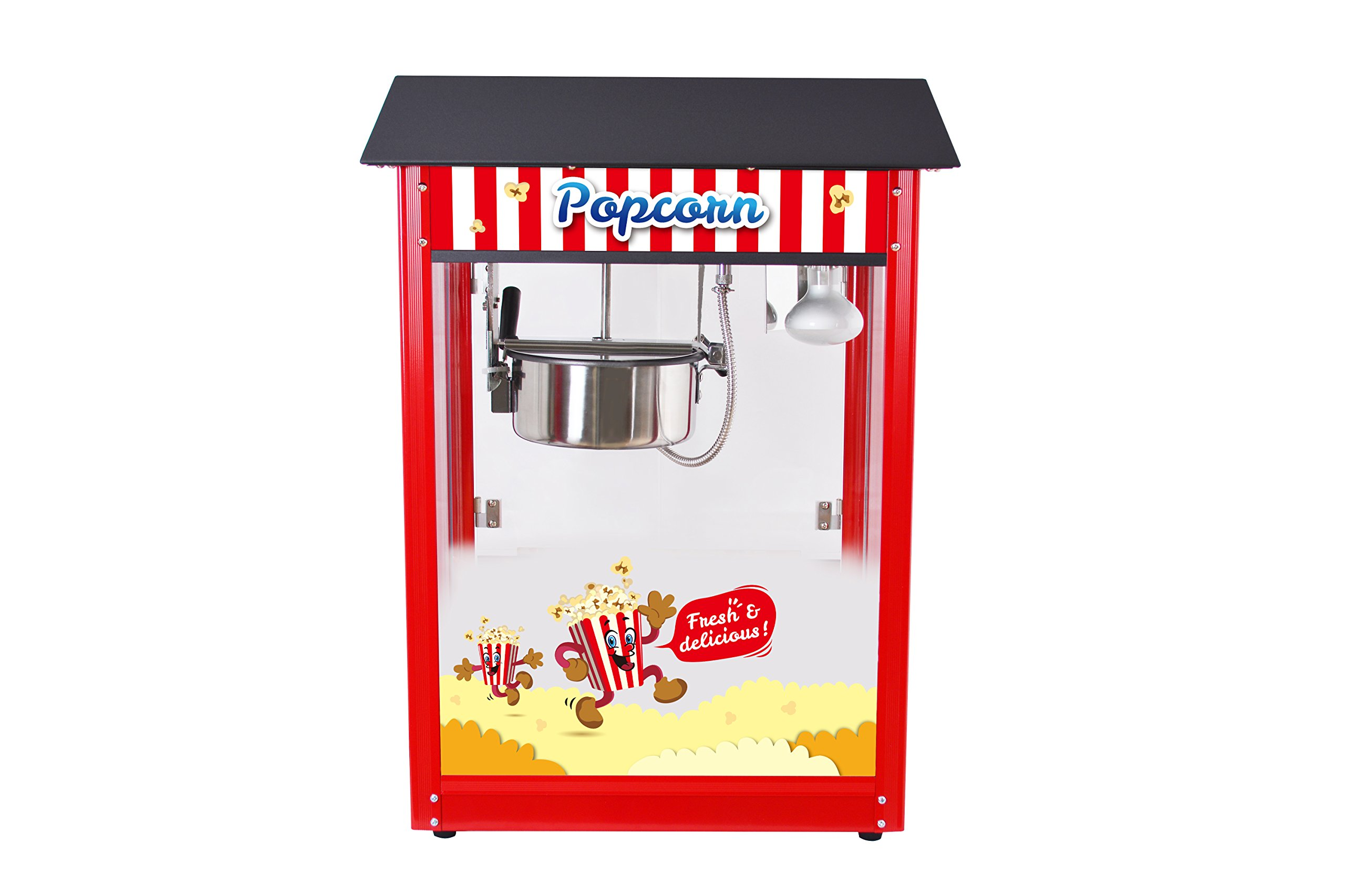 Movie Theater Style 8 oz. Ounce Popcorn Machine. Quick popcorn within 3 min (Black Top)