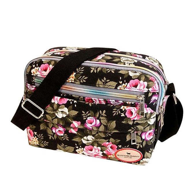 Goddessvan Fashion Women Floral Canvas Crossbody Bag Shoulder Bag Messenger Bag Cosmetic Bag