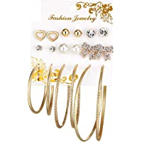 Jewels Galaxy Fascinating Simulated Pearl Stylish 9 Pair of Stud Earrings For Women/Girls