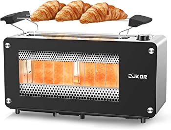 CUKOR 2 Slice Long Slot Toasters with Window