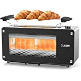2-Slice Long Slot Toaster with Window, CUKOR Bagel Toaster with Warm Rack and 7 Bread Shade Settings, Glass Toaster with Auto