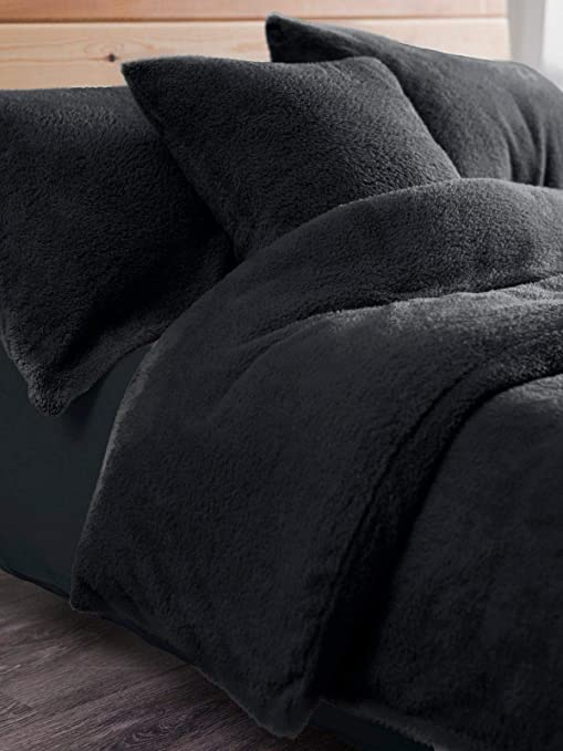 Home Double Duvet Cover With Pillow Case Bedding Set Charcoal Dark Grey Stylish
