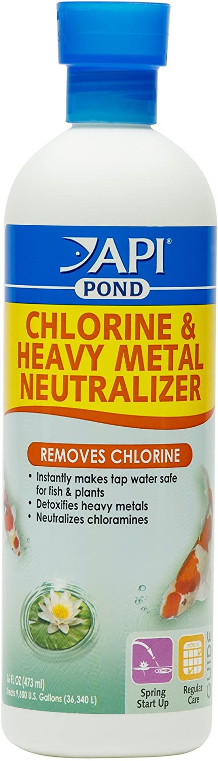 API Pond Chlorine & Heavy Metal Neutralizer, Instantly Makes tap Water Safe, Super Concentrated, 1 oz Treats 600 GAL of Pond Water, Use When Filling, Adding or Changing Water