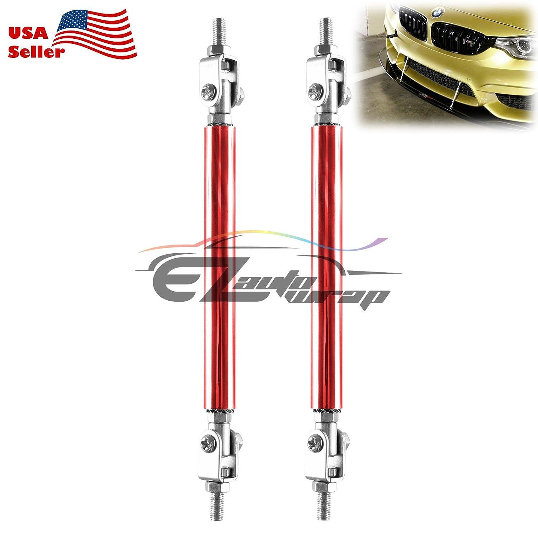 EZAUTOWRAP Blue 6-8 Adjustable Front//Rear Frame Bumper Lip Splitter Strut Rod Support Bar