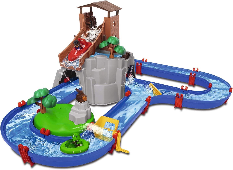 Big Spielwarenfabrik 8700001647 Adventureland - Pista de Agua con montaña, Torre y Lago, Multicolor