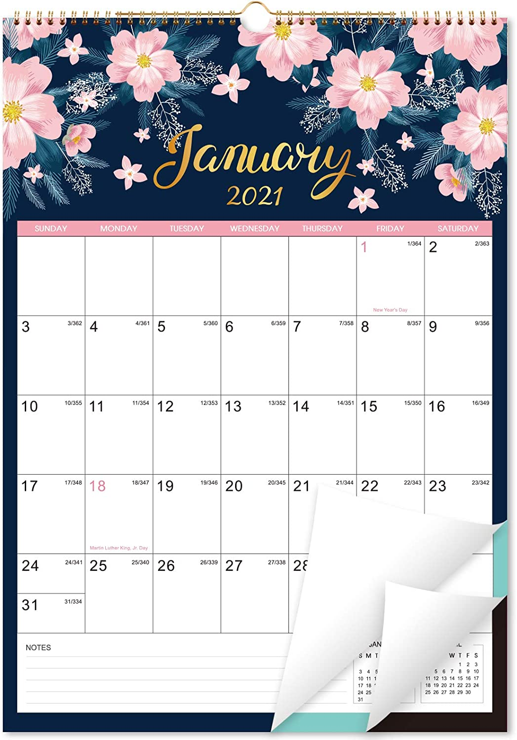 Amazon Com 2021 2022 Calendar Monthly Wall Calendar Planner From Jan 2021 Jun 2022 12 X 17 Twin Wire Binding Large Blocks With Julian Dates Perfect For Planning And Organizing Your Home