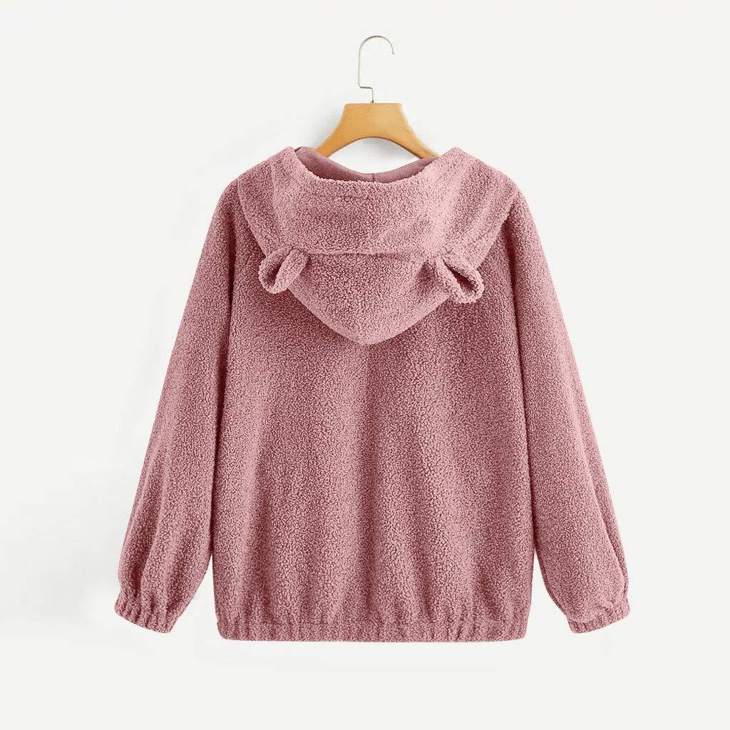 Hurrybuy Womens Long Sleeve Solid Fleece Sweatshirt Cute Cat Ear Warm Fuzzy Zip Up Hoodie Pullover