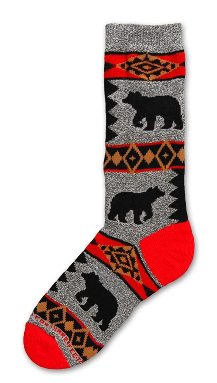 Bear Blanket Motif on Marble Grey Adult Medium Socks For Bare Feet 782892624709