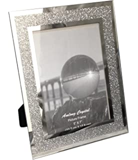 amlong crystal sparkle mirror picture frame 5 x 7 - Mirrored Picture Frame