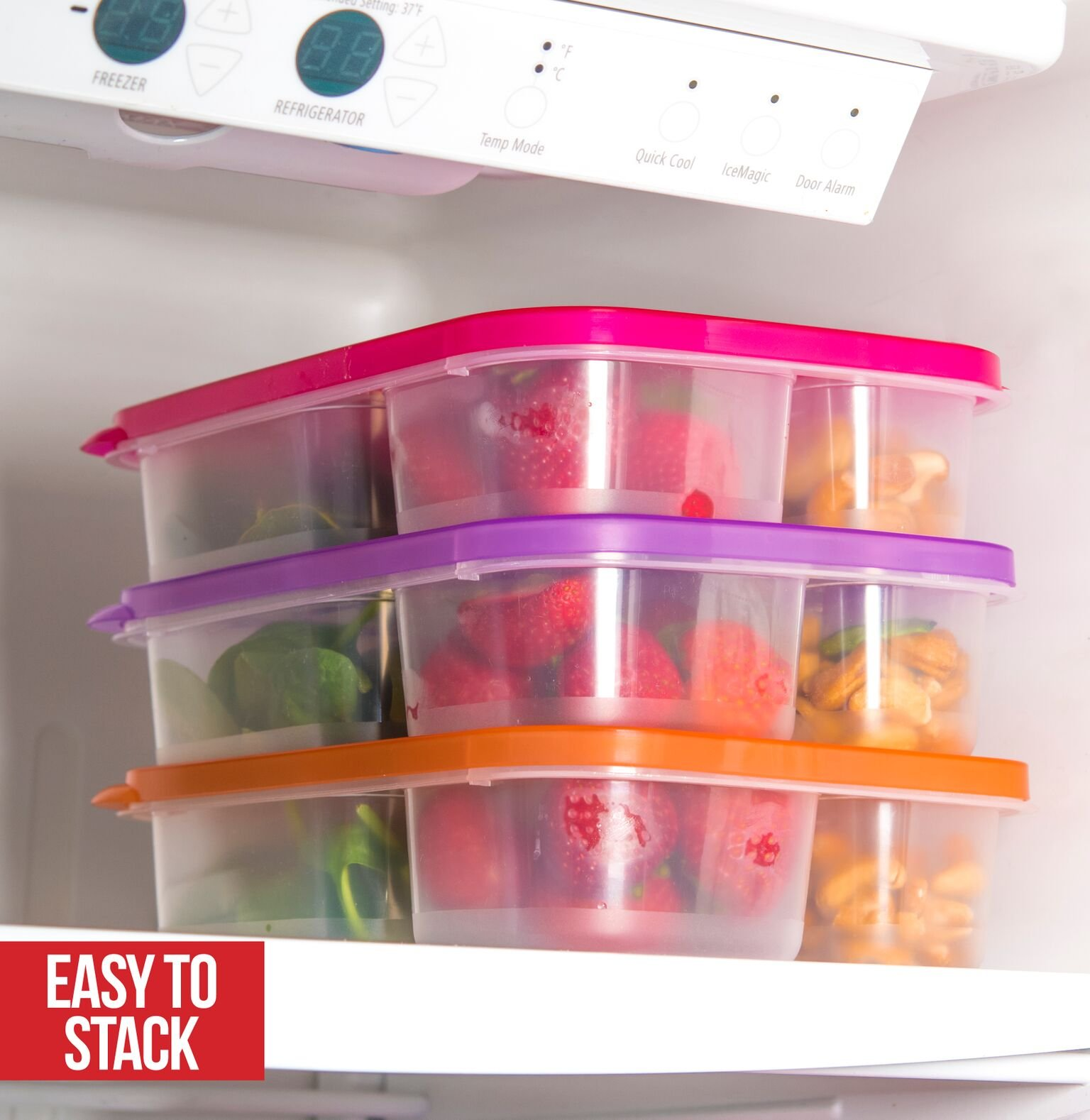 Bento Lunch Box 3 Compartment Food Containers – Set of 10 Storage meal prep Container Boxes– Ideal for Adults, Toddler, Kids, Girls, and Boys – Free 2-in-1 Fork/Spoon & Puzzle Sandwich Cutter by Perfect Fit (Image #3)