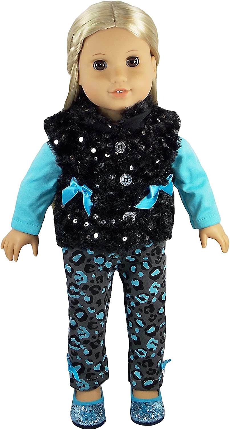 """Leopard Print Diva Outfit With Teal Glitter Flats for 18"""" Dolls"""