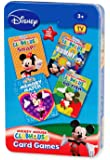 """Disney Mickey Mouse CLUBHOUSE 4 in 1 Card Games Set """"MEMORY MATCH"""", """"RUMMY"""", """"SNAP!"""" and """"GO FISH"""" in Tin Box"""